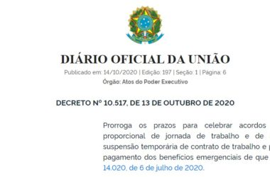 DECRETO Nº 10.517, DE 13 DE OUTUBRO DE 2020