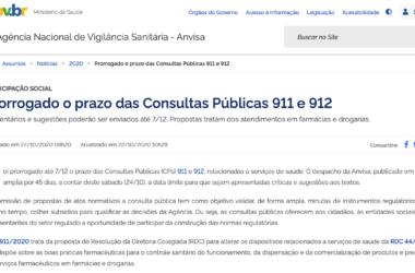 Informe Jurídico SICOFASE – Prorrogação do prazo das Consultas Públicas n° 911 e 912