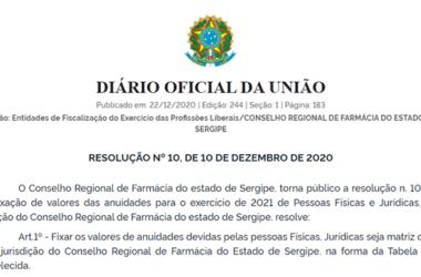 Diário Oficial – RESOLUÇÃO Nº 10, DE 10 DE DEZEMBRO DE 2020